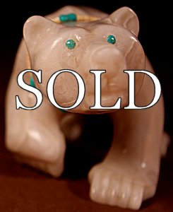 Albert Eustace | White Marble | Walking Bear  | Price: $395. +  $12.50  domestic shipping | Texas sales tax applies to Texas Residents! | CLICK  IMAGE for more views & information. | Authentic Zuni fetishes direct from Zuni Pueblo to YOU from Zunispirits.com!