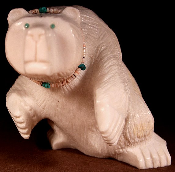 Albert Eustace | White marble | Large Standing Bear  | Price: $650.00  +  shipping (weighs over 3 lbs.), depending on your location | Texas sales tax applies to Texas Residents! |  CLICK  IMAGE for more views & information. | Authentic Zuni fetishes direct from Zuni Pueblo to YOU  from Zunispirits.com!