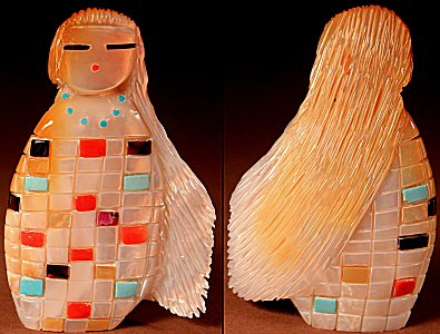 Randy Lucio | Gold-lipped Mother-of-pearl | Corn Maiden  | Price: $375. +  $12.50  domestic shipping | Texas sales tax applies to Texas Residents! | CLICK  IMAGE for more views & information. | Authentic Zuni fetishes direct from Zuni Pueblo to YOU from Zunispirits.com!
