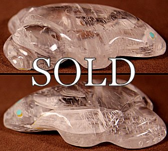 Lena Boone | Selenite | Old Style Frog | Price: $54. +  $9.25   domestic shipping | Texas sales tax applies to Texas Residents! | CLICK  IMAGE for  more views & information. | Authentic Zuni fetishes direct from Zuni Pueblo to YOU  from Zunispirits.com!
