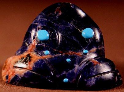 Reynold Lunasee | Sodalite | Inlaid Frog | Price WAS: $65.  |  SALE PRICE:  $45. +  $8.50  domestic shipping | Texas sales tax applies to Texas Residents! | CLICK  IMAGE for more views & information. | Authentic Zuni fetishes direct from Zuni Pueblo to YOU from Zunispirits.com!