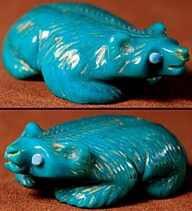 Vernon Lunasee & Prudencia Quam | Turquoise | Badger  | Price: $72. +  $9.25  domestic shipping | Texas sales tax applies to Texas Residents! | CLICK  IMAGE for more views & information. | Authentic Zuni fetishes direct from Zuni Pueblo to YOU from Zunispirits.com!