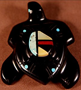 Stephen Natachu | Jet | Inlaid Double Turtles  | Price: $75. +  $9.25  domestic shipping | Texas sales tax applies to Texas Residents! | CLICK  IMAGE for more views & information. | Authentic Zuni fetishes direct from Zuni Pueblo to YOU from Zunispirits.com!