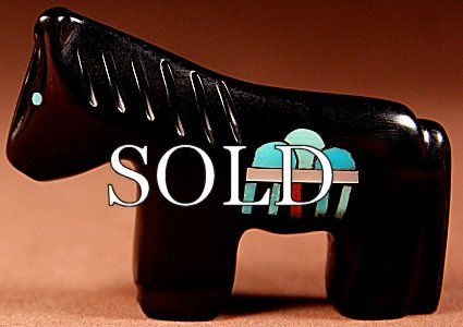 Emery Boone | Jet | Inlaid Rain Horse  | Price: $65. +  $9.25  domestic shipping | Texas sales tax applies to Texas Residents! | CLICK  IMAGE for more views & information. | Authentic Zuni fetishes direct from Zuni Pueblo to YOU from Zunispirits.com!