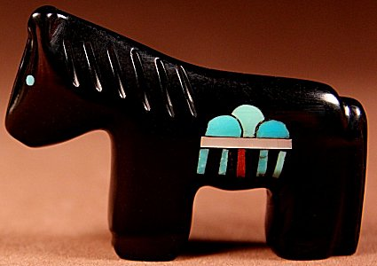 Emery Boone   Jet   Inlaid Rain Horse    Price: $65. +  $9.25  domestic shipping   Texas sales tax applies to Texas Residents!   CLICK  IMAGE for more views & information.   Authentic Zuni fetishes direct from Zuni Pueblo to YOU from Zunispirits.com!