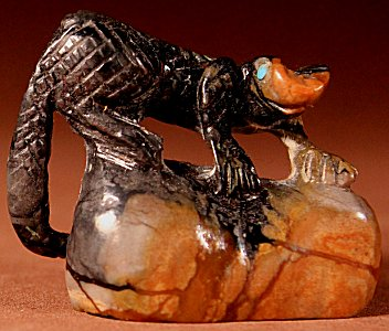 Anthony Mecale | Picasso Marble | Lizard on a Rock | Price WAS: $195.  |  SALE PRICE:  $125. +  $10.00  domestic shipping | Texas sales tax applies to Texas Residents! | CLICK  IMAGE for more views & information. | Authentic Zuni fetishes direct from Zuni Pueblo to YOU from Zunispirits.com!