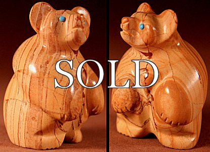 Vernon Lunasee & Prudencia Quam | Jasper | Standing Bear  | Price: $72. +  $9.25  domestic shipping | Texas sales tax applies to Texas Residents! | CLICK  IMAGE for more views & information. | Authentic Zuni fetishes direct from Zuni Pueblo to YOU from Zunispirits.com!