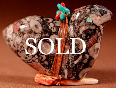 Lena Boone | Crinoid Marble | Eagle  | Price: $54. +  $9.25 domestic shipping | Texas sales tax applies to Texas Residents! | CLICK  IMAGE for more views & information. | Authentic Zuni fetishes direct from Zuni Pueblo to YOU from Zunispirits.com!