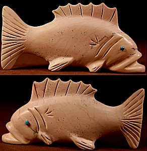 Vernon Lunasee| Fishrock | Fish  | Price WAS: $125.  |  SALE PRICE:  $75. +  $9.25  domestic shipping | Texas sales tax applies to Texas Residents! | CLICK  IMAGE for more views & information. | Authentic Zuni fetishes direct from Zuni Pueblo to YOU from Zunispirits.com!