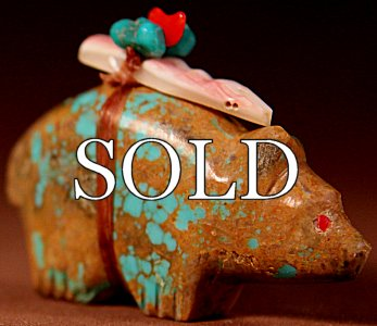 Lena Boone | Turquoise | Bear  | Price: $65. +  $9.75  domestic shipping | Texas sales tax applies to Texas Residents! | CLICK  IMAGE for more views & information. | We sell ONLY authentic Zuni fetish carvings here, like this one by Darrell Westika!