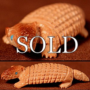 Karen Zunie | Fossil Ivory | Tiny Armadillo  |  Price: $105. +  $10.00  domestic shipping | Texas sales tax applies to  Texas Residents! | CLICK  IMAGE for more views & information. | Authentic  Zuni fetishes direct from Zuni Pueblo to YOU from Zunispirits.com!