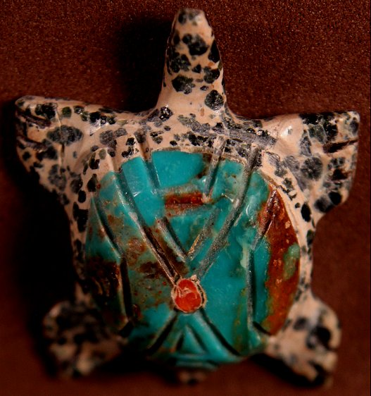 Laura Quam| Augite & Turquoise | Turtle |  Price: $95. +    shipping | Texas 6.75% sales tax applies to  Texas Residents! | CLICK  IMAGE for more views & information. | Authentic Zuni  fetishes direct from Zuni Pueblo to YOU from Zunispirits.com!
