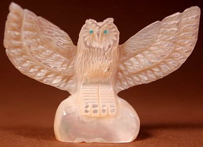 Celester Laate (d.) | Mother-of-pearl | Owl | Price: $195. +  $11.00  domestic shipping | Texas sales tax applies to Texas Residents! | CLICK  IMAGE for more views & information. | Authentic Zuni fetishes direct from Zuni Pueblo to YOU from Zunispirits.com!