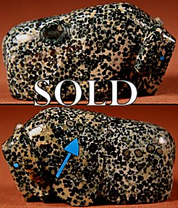 Clayton & Abby Quam Panteah  | Augite Serpentine  | Buffalo  | Price: $54. +  $9.25  domestic shipping | Texas sales tax applies to Texas Residents! | CLICK  IMAGE for more views & information. | Authentic Zuni fetishes direct from Zuni Pueblo to YOU from Zunispirits.com!