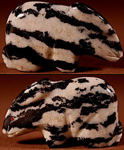 Lloyd Lasiloo  |  Zebra Stone  | Rabbit  | Price: $48. +  $8.50  domestic shipping | Texas sales tax applies to Texas Residents! | CLICK  IMAGE for more views & information. | Authentic Zuni fetishes direct from Zuni Pueblo to YOU from Zunispirits.com!