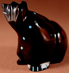 Claudia Peina  | Jet  | Walking Bear  | Price: $72. +  $9.25  domestic shipping | Texas sales tax applies to Texas Residents! | CLICK  IMAGE for more views & information. | Authentic Zuni fetishes direct from Zuni Pueblo to YOU from Zunispirits.com!