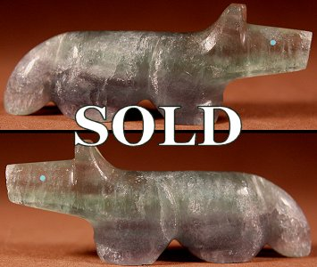 Terrence Tsethlikai |  Fluorite  | Wolf  | Price: $48. +  $8.50  domestic shipping | Texas sales tax applies to Texas Residents! | CLICK  IMAGE for more views & information. | Authentic Zuni fetishes direct from Zuni Pueblo to YOU from Zunispirits.com!
