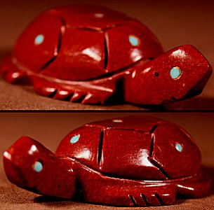 Emery Boone  | Pipestone  | Inlaid Turtle  | Price WAS: $48.  |  SALE PRICE:  $34. +  $8.50  domestic shipping | Texas sales tax applies to Texas Residents! | CLICK  IMAGE for more views & information. | Authentic Zuni fetishes direct from Zuni Pueblo to YOU from Zunispirits.com!
