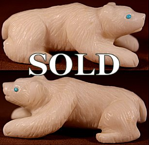 Frank Nieto  |  Alabaster  | Bear  | Price: $65. +  $9.25  domestic shipping | Texas sales tax applies to Texas Residents! | CLICK  IMAGE for more views & information. | Authentic Zuni fetishes direct from Zuni Pueblo to YOU from Zunispirits.com!