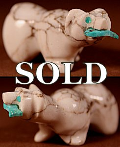 Andres Quam |  Howlite  | Bear with Fish  | Price: $48. +  $8.50  domestic shipping | Texas sales tax applies to Texas Residents! | CLICK  IMAGE for more views & information. | Authentic Zuni fetishes direct from Zuni Pueblo to YOU from Zunispirits.com!