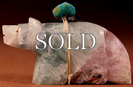 Al Lasiloo |  Fluorite   | Wolf  | Price: $42 +  $8.50 or more domestic USA shipping | 6.75% Texas sales tax applies to Texas Residents! | CLICK  IMAGE for more views & information. | Authentic Zuni fetishes direct from Zuni Pueblo to YOU from Zunispirits.com!