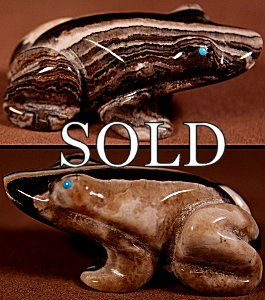Loubert Soseeah  | Onyx  | Frog  | Price: $54. +  $9.25  domestic shipping | Texas sales tax applies to Texas Residents! | CLICK  IMAGE for more views & information. | Authentic Zuni fetishes direct from Zuni Pueblo to YOU from Zunispirits.com!