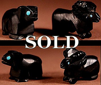 Dave Cooeyate  | Jet  | Sheep Pair  | Price: $36. +  $8.50  domestic shipping | Texas sales tax applies to Texas Residents! | CLICK  IMAGE for more views & information. | Authentic Zuni fetishes direct from Zuni Pueblo to YOU from Zunispirits.com!