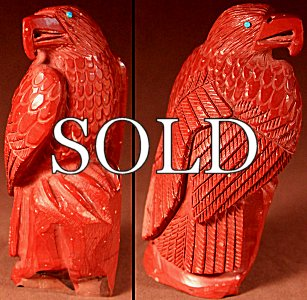 Derrick Kaamasee | Pipestone | Eagle | Price: $180. +  $10.00  domestic shipping | Texas sales tax applies to Texas Residents! | CLICK  IMAGE for more views & information. | Authentic Zuni fetishes direct from Zuni Pueblo to YOU from Zunispirits.com!