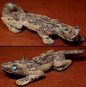 Staley Natewa (d.) | Serpentine | Hand-checkered Lizard | Price: $995.  +  $19.00  domestic shipping | Texas sales tax applies to Texas Residents! | CLICK  IMAGE for more views & information. | Authentic Zuni fetishes direct from Zuni Pueblo to YOU from Zunispirits.com!