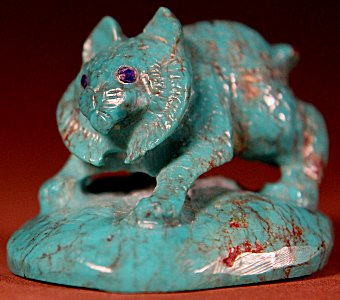 Wilfred Cheama | Turquoise | Bobcat  | Price: $295. +  $11.25  domestic shipping | Texas sales tax applies to Texas Residents! | CLICK  IMAGE for more views & information. | Your purchase comes with Zuni blue corn and a Certificate of Authenticity.