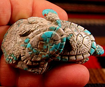 Vern Nieto | Turquoise in matrix | Sea Turtles | Price: $425. +  $13.50  domestic shipping | Texas sales tax applies to Texas Residents! | CLICK  IMAGE for more views & information. | Authentic Zuni fetishes direct from Zuni Pueblo to YOU from Zunispirits.com!