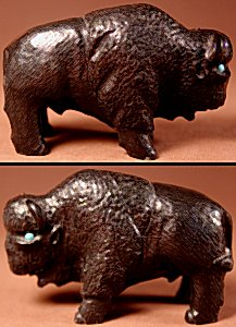 Herbert Him, Sr. | Black Marble | Buffalo | Price: $450.  +  $13.50  domestic shipping | Texas sales tax applies to Texas Residents! | CLICK  IMAGE for more views & information. | Authentic Zuni fetishes direct from Zuni Pueblo to YOU from Zunispirits.com!
