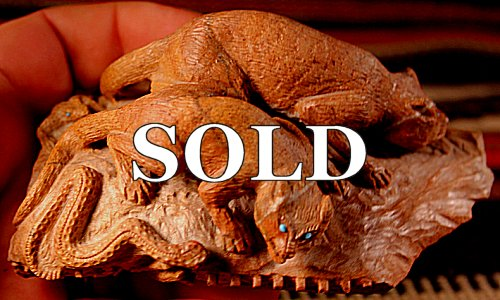 Staley Natewa (d.) | Picasso Marble |  Double Mt Lion - Snake - Lizard  Pueblo  | Price: $2500.00  +  $40.00 or More domestic shipping | Texas sales tax applies to Texas Residents! |  CLICK  IMAGE for more views & information. | Authentic Zuni fetishes direct from Zuni Pueblo to YOU  from Zunispirits.com!