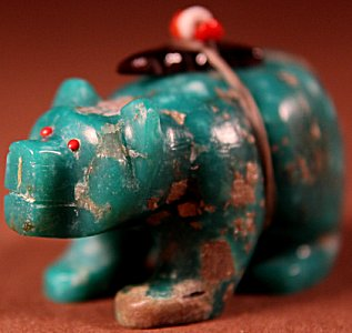 Brion Hattie |  Chrysocolla  | Bear  | Price: $165. +  $10.00  domestic shipping | Texas sales tax applies to Texas Residents! | CLICK  IMAGE for more views & information. | Authentic Zuni fetishes direct from Zuni Pueblo to YOU from Zunispirits.com!