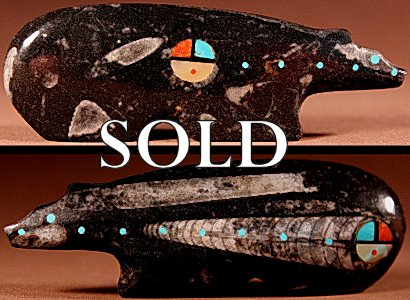 Lynn Quam  | Orthoceras Fossil Marble  | Inlaid Bear  | Price: $150. +  $10.00  domestic shipping | Texas sales tax applies to Texas Residents! | CLICK  IMAGE for more views & information. | Authentic Zuni fetishes direct from Zuni Pueblo to YOU from Zunispirits.com!