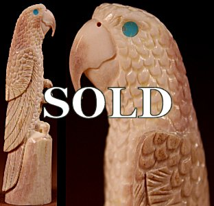 Charels Martinez, Jr. | Antler  | Parrot  | Price: $145. +  $10.00  domestic shipping | Texas sales tax applies to Texas Residents! | CLICK  IMAGE for more views & information. | Authentic Zuni fetishes direct from Zuni Pueblo to YOU from Zunispirits.com!