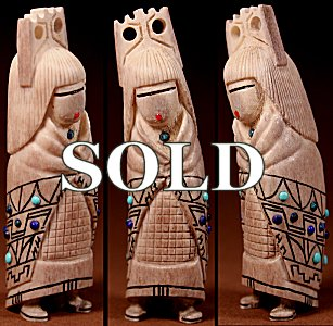 Norman Cooyate & Jacqueline Ghahate  | Antler  | Inlaid Tablita Maiden  | Price: $225. +  $11.25  domestic shipping | Texas sales tax applies to Texas Residents! | CLICK  IMAGE for more views & information. | Authentic Zuni fetishes direct from Zuni Pueblo to YOU from Zunispirits.com!