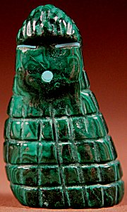 Tim Lementino  | Malachite  | Corn Maiden  | Price: $42. +  $8.50  domestic shipping | Texas sales tax applies to Texas Residents! | CLICK  IMAGE for more views & information. | Authentic Zuni fetishes direct from Zuni Pueblo to YOU from Zunispirits.com!
