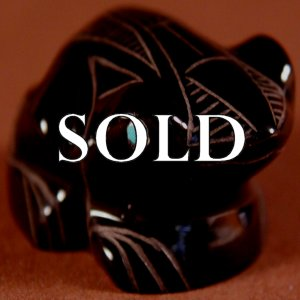 Julius Yuselew (d.)  | Black Marble  |  Sgraffito Frog  | Price WAS: $175.  |  SALE PRICE:  $125. +  $10.00  domestic shipping | Texas sales tax applies to Texas Residents! | CLICK  IMAGE for more views & information. | Authentic Zuni fetishes direct from Zuni Pueblo to YOU from Zunispirits.com!