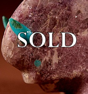 Lynn Quam | Colorado Lepidolite  | Buffalo  | Price WAS: $195.  |  SALE PRICE:  $135. +  $10.00  domestic shipping | Texas sales tax applies to Texas Residents! | CLICK  IMAGE for more views & information. | Authentic Zuni fetishes direct from Zuni Pueblo to YOU from Zunispirits.com!