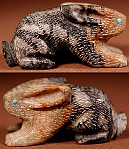 Sedrick Banteah | Picasso Marble | Rabbit  | Price: $45. +  $8.50  domestic shipping | Texas sales tax applies to Texas Residents! | CLICK  IMAGE for more views & information. | Authentic Zuni fetishes direct from Zuni Pueblo to YOU from Zunispirits.com!
