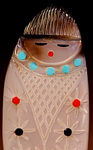 Cheryl Beyuka  | Black-lipped Mother-of-pearl  | Corn Maiden  | Price: $60. +  $9.25  domestic shipping | Texas sales tax applies to Texas Residents! | CLICK  IMAGE for more views & information. | Authentic Zuni fetishes direct from Zuni Pueblo to YOU from Zunispirits.com!
