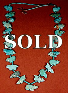 Juana homer  |  Turquoise  | Bear & Wolf Fetish Necklace | Price: $800. +  $17.75  domestic shipping | Texas sales tax applies to Texas Residents! | CLICK  IMAGE for more views & information. | Authentic Zuni fetishes direct from Zuni Pueblo to YOU from Zunispirits.com!