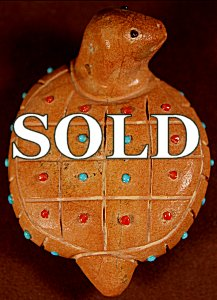 Hayes Leekya | Zuni Rock | Inlaid Turtle  | Price: $95. +  $9.25  domestic shipping | Texas sales tax applies to Texas Residents! | CLICK  IMAGE for more views & information. | Authentic Zuni fetishes direct from Zuni Pueblo to YOU from Zunispirits.com!