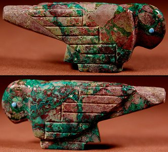 Vernon Lunasee & Prudencia Quam | Arizona Azurite-Malachite | Old Style Eagle  | Price: $95. +  $9.25  domestic shipping | Texas sales tax applies to Texas Residents! | CLICK  IMAGE for more views & information. | Authentic Zuni fetishes direct from Zuni Pueblo to YOU from Zunispirits.com!