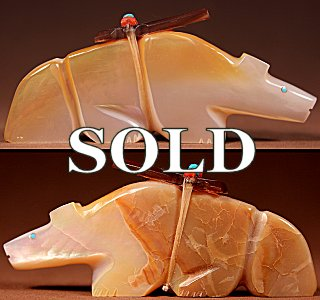 Kyle Mahooty  | Gold-lipped Mother-of-pearl  | Wolf  | Price: $60. +  $9.25  domestic shipping | Texas sales tax applies to Texas Residents! | CLICK  IMAGE for more views & information. | Authentic Zuni fetishes direct from Zuni Pueblo to YOU from Zunispirits.com!