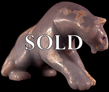 Gibbs Othole |  Angelite  |  Mountain Lion  | Price: $1000. +  $20.00  domestic shipping | Texas sales tax applies to Texas Residents! | CLICK  IMAGE for more views & information. | Authentic Zuni fetishes direct from Zuni Pueblo to YOU from Zunispirits.com!
