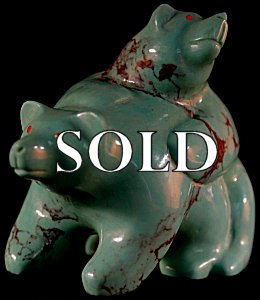 Jeff Tsalabutie  | Turquoise   | Spring Bears  | Price: $1250. +  $22.00  domestic shipping | Texas sales tax applies to Texas Residents! | CLICK  IMAGE for more views & information. | Authentic Zuni fetishes direct from Zuni Pueblo to YOU from Zunispirits.com!