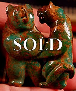 Jeff Tsalabutie (1974-2009)|  Chinese Turquoise  |  The Secret Sharers  Bear-Mt Lion Sculpture  | Price: $1500. +  $24.00  domestic shipping | Texas sales tax applies to Texas Residents! | CLICK  IMAGE for more views & information. | Authentic Zuni fetishes direct from Zuni Pueblo to YOU from Zunispirits.com!