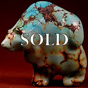 Jeff Tsalabutie  | Natural Yungai Hubei Turquoise   | Standing Bear  | Price: $2000. +  $26.00  domestic shipping | Texas sales tax applies to Texas Residents! | CLICK  IMAGE for more views & information. | Authentic Zuni fetishes direct from Zuni Pueblo to YOU from Zunispirits.com!